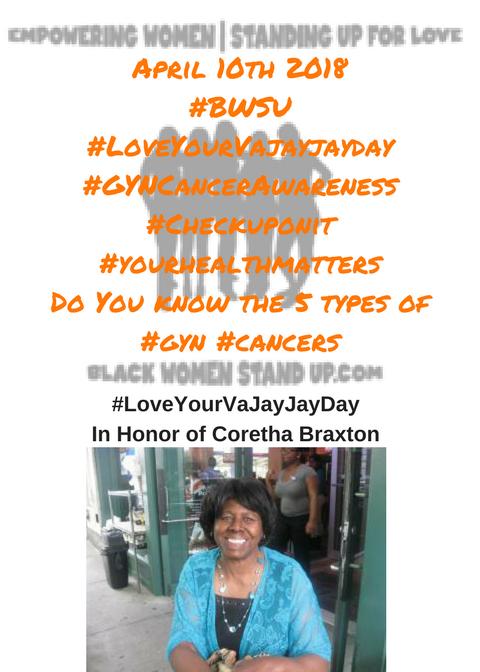 April 10th 2018#BWSU#LoveYourVajayjayday#GYNCancerAwareness#Checkuponit#yourhealthmattersDo You know the 5 types of #gyn #cancersvisit...
